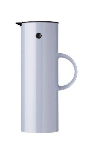 Stelton Isolierkanne EM77 - Doppelwandige Isolierkanne für heiße/kalte Getränke - Tee- & Kaffeekanne mit Glaseinsatz, Magnetverschluss, Schraubdeckel, Vintage-Design - 1 Liter, Wolkig