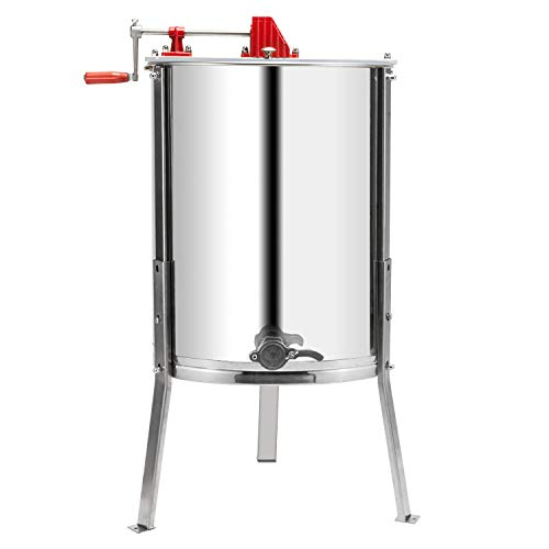 VINGLI Upgraded 4 Frame Honey Extractor Separator,304 Food Grade Stainless Steel Honeycomb Spinner Drum Manual Crank With Adjustable Height Stands,Beekeeping Pro Extraction Apiary Centrifuge Equipment