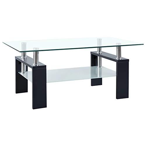 vidaXL Table Basse Table d'Appoint Table de Canapé Table de Salon Meuble de Salle de Séjour Maison Intérieur Noir 95x55x40 cm Verre Trempé