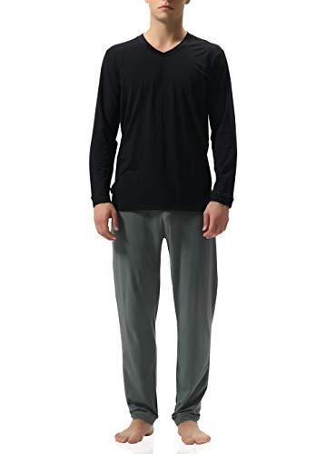 Genuwin Herren Zweiteiliger Schlafanzug Lange Pyjama Set aus Baumwolle- Langarm Shirt mit V-Ausschnitt & Lange Hose, 1 Set