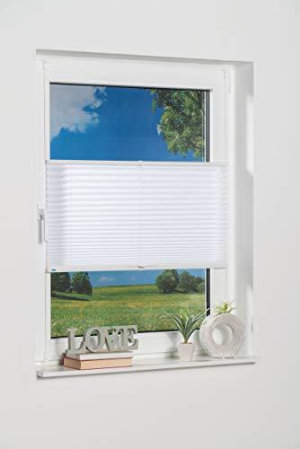 K-home Klemmfix-Plissee Weiß 60 x 130 cm (B x L) Lichtschutz +++ Moderne Crushed Optik +++