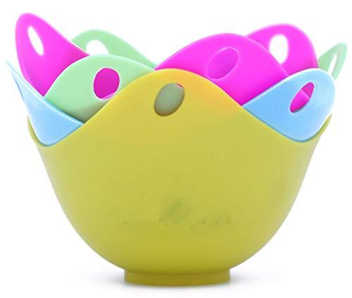 EPRHY Eierpochierer Silikon Eier Pochierbecher mit integrierten Ringstangen, für Mikrowelle oder Herd Eierkochen, Kraftkarton Verpackung, BPA-frei, 4 Stück