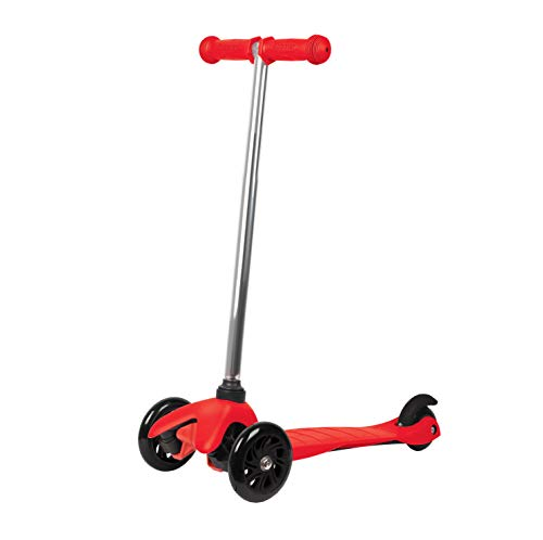 Rugged Racers Red Kick Scooter for Boys & Girls 3 Wheel Scooter, Kick Scooter for Kids with PU Wheels, Step Brake, Lean 2 Turn, Ride on Toys for Children 3 Year Plus