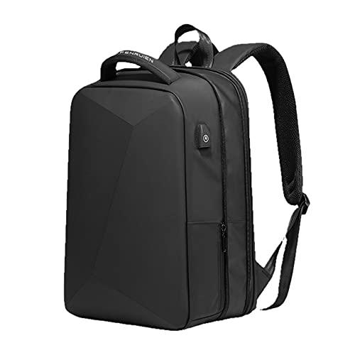Mochila de Regazo Mochilas Escolares Impermeables antirrobo Carga USB Hombres Bolsa de Viaje de Negocios Diseño de Mochila - Actualización Negro