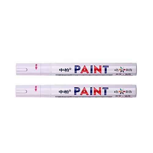 2 rotuladores de pintura permanente, universal, impermeable, para neumáticos de coche, goma de metal, color blanco