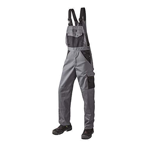 J.A.K. 920750108 Serie 9207 65% Polyester/35% Baumwolle Latzhose, Grau/Schwarz, 60 R (42/32) Größe