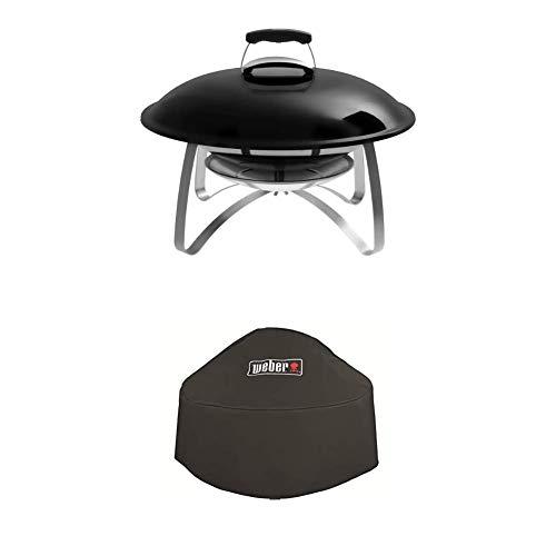 Weber Fireplace, Mobile Feuerstelle mit Standfuss, schwarz, 2750 + Premium Abdeckhaube für Fireplace, schwarz