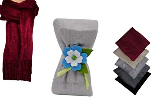 Lote de 10 Bufandas de Pelo para Mujer con Flor de Fieltro(Surtida). Complementos. Detalles de Bodas y Eventos