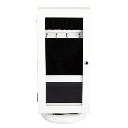 BHP sieradenkast, MDF wit, 1 deur met spiegel, draaisokkel hoogte 430 mm
