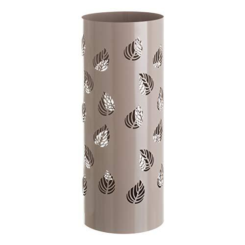 Paragüero contemporáneo Beige de Metal Redondo de Hojas de 15x49 cm - LOLAhome