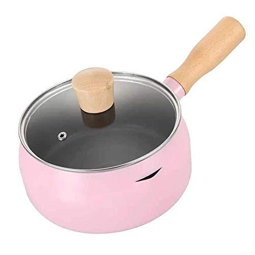 Olla para el hogar, Cacerola de utensilios de cocina Cacerola con tapa antiadherente Elemento de hierro fino diseño de drenaje compuesto de abajo100% toxinfree sano utensilio de metal inducción, rosa