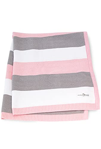 Babydecke aus 100% Bio Baumwolle - kuschelige Strickdecke ideal als Baby Decke, Erstlingsdecke, Wolldecke, Bettdecke oder Baby Kuscheldecke für Sommer und Winter in rosa für Mädchen von Minky Mooh