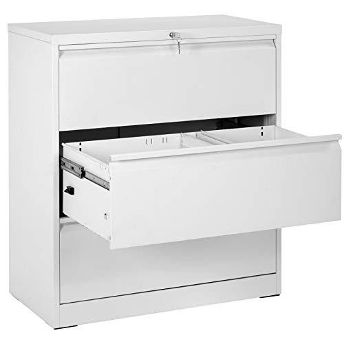 Seitlicher Aktenschrank Weiß, Büroschrank mit 3 Schubladen, Abschließbar, Stahl Mehrzweckschrank, Schrank Bürocontainer, Druckertisch, Kippschutzsystem, Hohe Belastung, 90 x 45 x 103 cm