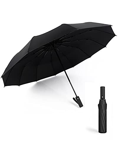 Videnc Regenschirm Sturmfest, Taschenschirme 12-fach Verstrebung Stark Regenschirm Groß,Regenschirme Kompakt Taschenschirm Automatik UV-blockierter Regenschirm Schwarz,Faltbarer Regenschirm im Freien