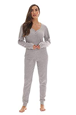 #followme Womens Thermal Henley Jogger Pant Set 6790-GRY-S Grey
