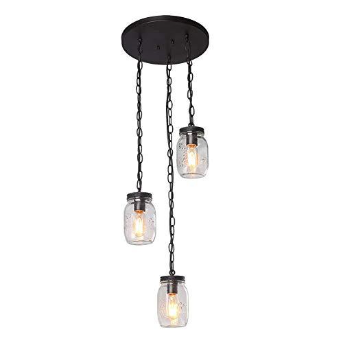 MJBOY industriële spinnenlamp met 3 koppen spiraal glazen fles metselwerk van smeedijzer zwart plafondlamp E27 hanglamp accessoires lamp diameter 11,8 inch