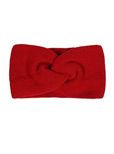 Zwillingsherz Stirnband mit Zopf-Knoten - Hochwertiges Strick-Kopfband für Damen Frauen Mädchen - Kaschmir - Ohrenschutz - Haarband - warm weich und luftig für Frühjahr Herbst und Winter - rot