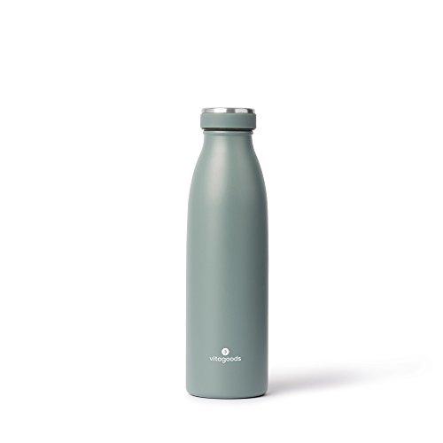 Vitagoods Emballé sous Vide en Acier Inoxydable Bouteille d'eau, 750 ML, Charbon de Bois, VG97284-4700, Vert forêt, 500 ML