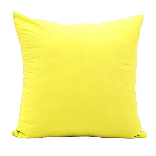 Alimagic Almohada de Color Liso, Funda de Almohada para sofá o Coche, diseño Cuadrado, Fundas De Cojines Algodón de Decoración para Hogar de Almohada Color Sólido (Ganso amarillo-55 * 55cm)