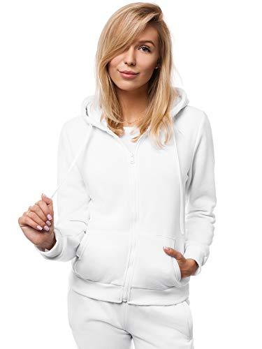 OZONEE Damen Kapuzenpullover Sweatjacke Sweatshirt Farbvarianten Kapuzenjacke Kapuzenpulli Langarm Kapuze Hoodie Sport Style Casual Fitness Basic Training JS/W03 WEIẞ XL