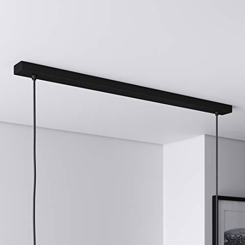 Baldachin für Lampe Rechteckig, Abzweigdose mit 2 Kabelauslässen (L 80 x H 2.5 x B 5 cm), SCHWARZ - ideal für Esstisch, inkl. WAGO-Klemmen