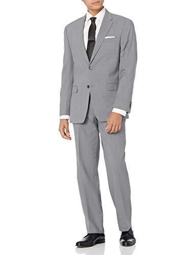 Tommy Hilfiger Men's Vasser Side Vent Suit 2 Button, Light Grey, 40 Regular