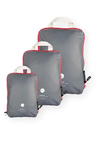 NORDKAMM Packtaschen Set (L, M) mit Kompression, Koffer-Organizer, Packwürfel, Kleidertasche, Gepäck-Organizer auf Reisen, im Rucksack, Backpack, als Kompressionsbeutel, leicht, mit Schlaufe
