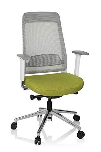 hjh OFFICE 790002 Silla de Oficina Chiaro T2 White Malla/Tela Verde/Gris Silla ergonómica Profundidad del Asiento Ajustable
