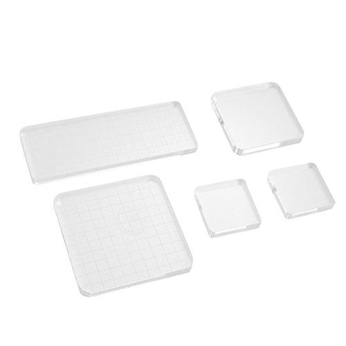 Healifty Transparent Stempel Block 5 Stück Acrylblock Stempel für Scrapbooking Handwerk
