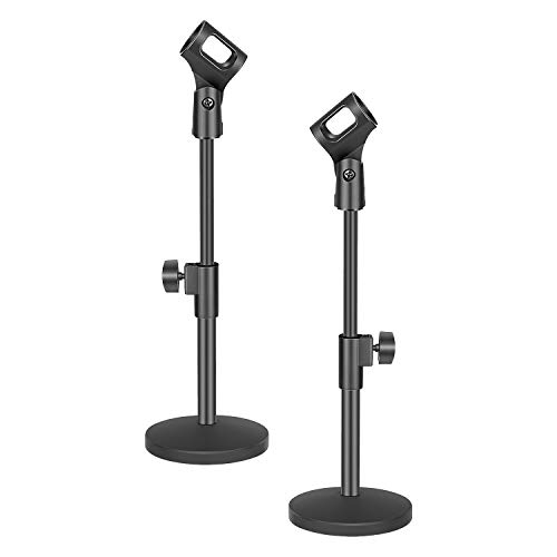 Neewer Stable Desktop Mic Stand with Black Iron Base, Mic Clip and 5/8 Male to 3/8 Female Screw Compatible with Blue Yeti Snowball Spark & Other Microphone