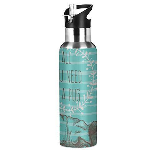 LIANGWE Edelstahl-Trinkflaschen Alles, was Sie brauchen Mops-Grußkarte Isolierte Edelstahlflasche Radsport Sport Doppelwandige vakuumisolierte Wasserflasche mit schmalem Mund