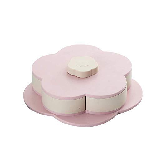 Metyere Snackbox Candy Schale Blüten Rotierende Getrocknet Obst Teller Snacks Ablagefach für Weihnachts Party - Rosa, small Single Layer