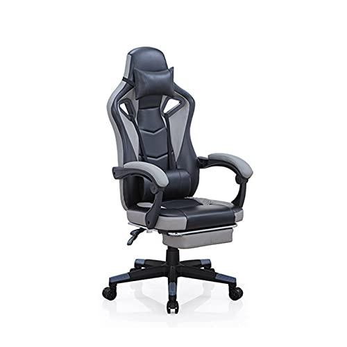 Silla de juegos, estilo de carreras, ergonómica, con respaldo alto, con ajuste de altura, reposacabezas y soporte lumbar, silla giratoria E-Sports negro
