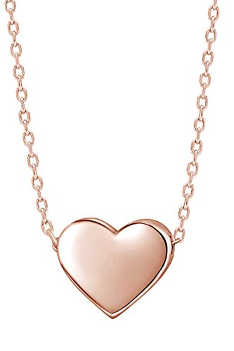 AFFY 925 Sterling Silver Tiny Silver Floating Heart Necklace 18'