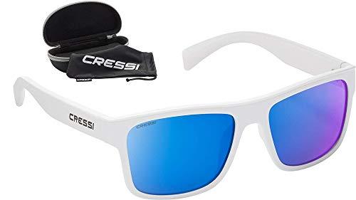 Cressi Unisex-Erwachsene Spyke Sunglasses Sport Sonnenbrillen, Weiße/Verspiegelte Linsen Blau, Einheitsgröße
