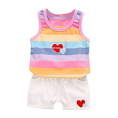 nanxing Småbarn baby pojke flicka kläder regnbåge rand linne och hjärta tryckta shorts småbarn barn kläder set