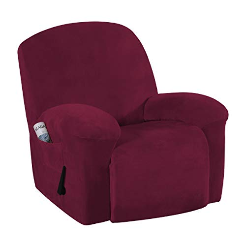 Velvet Plush Couch Cover for Recliner Couch Stretch Sofa Slipcover Featuring Plush Soft & Comfortable Fabric, Slip Resistant, Form Fit Stretch Furniture Protector (Recliner, Burgundy)