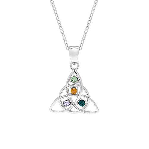 4 Simulated Stone Celtic Trinity Knot Crystal Custom Pendant