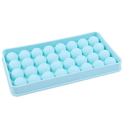 BERTY·PUYI Molde de Silicona, Bandeja de Hielo Cuadrada de Mini Bola Reutilizable con Tapa, Molde de Silicona para...