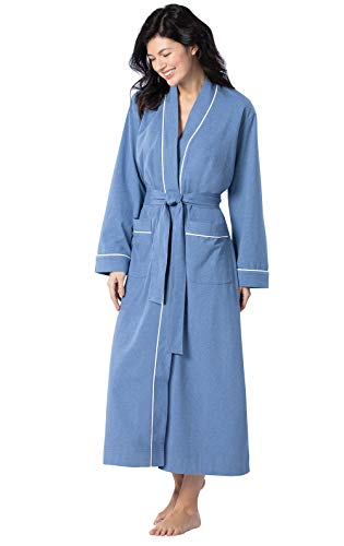 PajamaGram Soft Cotton Womens Robes - Long Bathrobes for Women, Blue, XL / 16