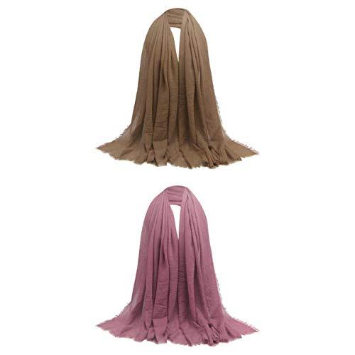 yotijar 2 Unidades de Lenços Longos de Algodão Aconchegante Muçulmano Judeu Lenço de Cabeça Turbante Hijab Enrugado