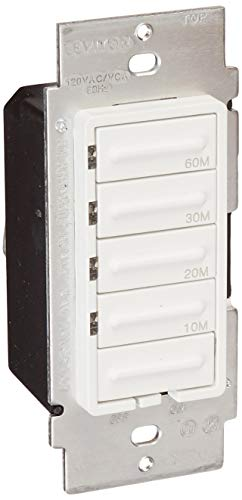 Leviton LTT60-1LW Decora 600W Incandescent/5A Resistive 10-20-30-60 Minute Preset Countdown Timer, Single Pole, White