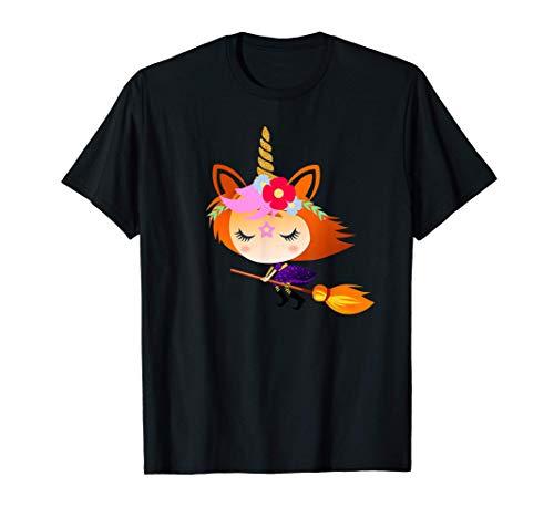 Bruja Unicornio Divertido Disfraz Halloween Mujer Niña Camiseta