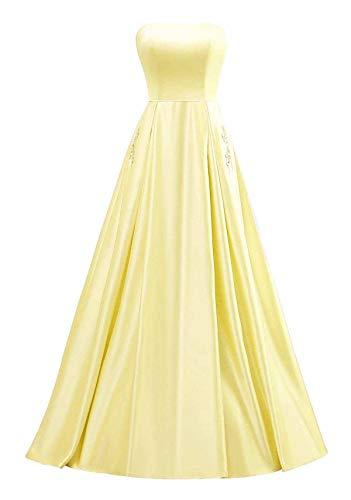 yinyyinhs Damen Trägerlose Perlen Abendkleider Lange A Line Satin Abendkleid Party Kleider mit Taschen Größe 54 Gelb