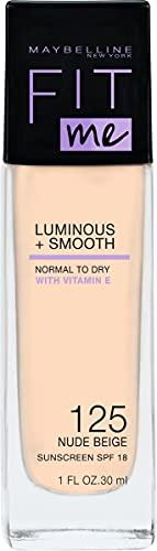 Maybelline New York Make Up, Fit Me! Foundation mit LSF18, Für makellose Haut, Alle Hauttypen, Nr. 125 Nude Beige, 30 ml