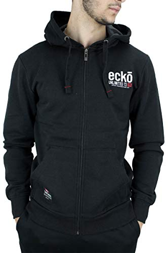 Ecko Herren Kapuzenpullover Men's Designer Long Sleeve Full Zip Up Hoodie Jacket, Black, Grey, Blue, Red (5XL, Black)