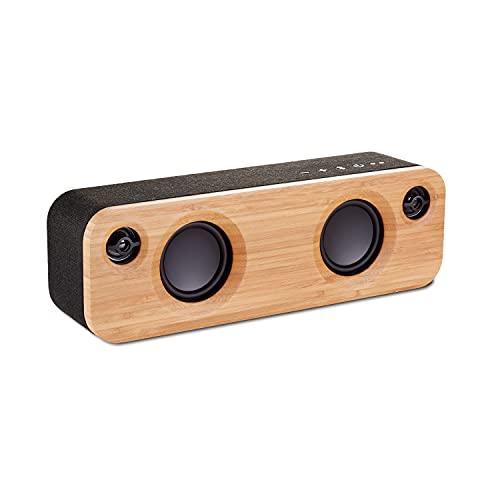Marley Get Together Mini Casse Bluetooth Portatili, Doppio Altoparlante senza Fili in Bambù e Alluminio Riciclabile, Autonomia Batteria 10 Ore, con Subwoofer da 2,5 Pollici e Funzione Vivavoce, Nero