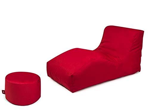 Outbag 2er Set Sitzsack Wave mit Rock l Gartenliege l Rot