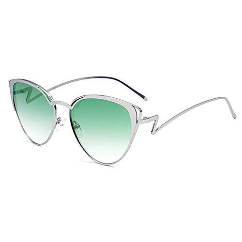 QCSMegy Gafas de sol para hombre, triángulo de metal, caja pequeña, ojo de gato, marco de personalidad hueco, protección UV400, unisex, color verde