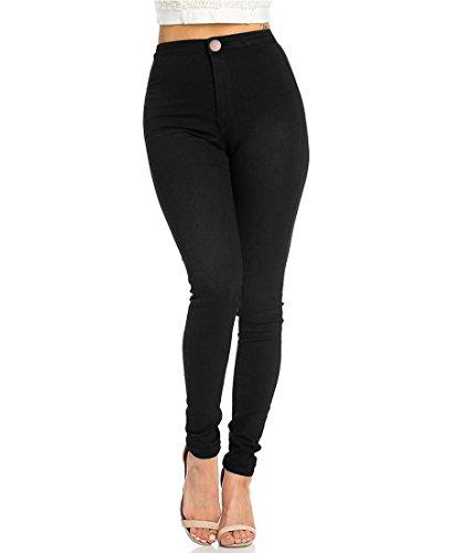 JYONE Jeans Damen, Skinny Jeans Denim High Waist Slim Leggings Röhrenjeans Bleistifthose Bleistift Hose, Black, XL